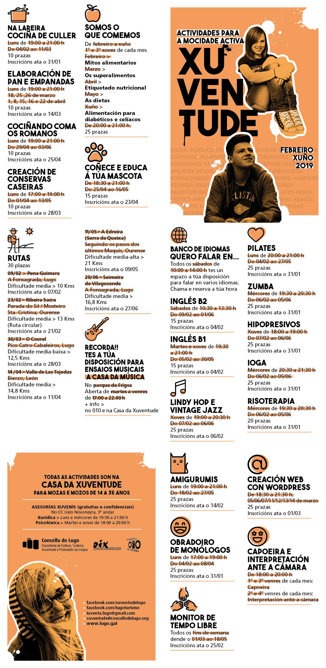 Programa actividades Casa da Xuventude de Lugo