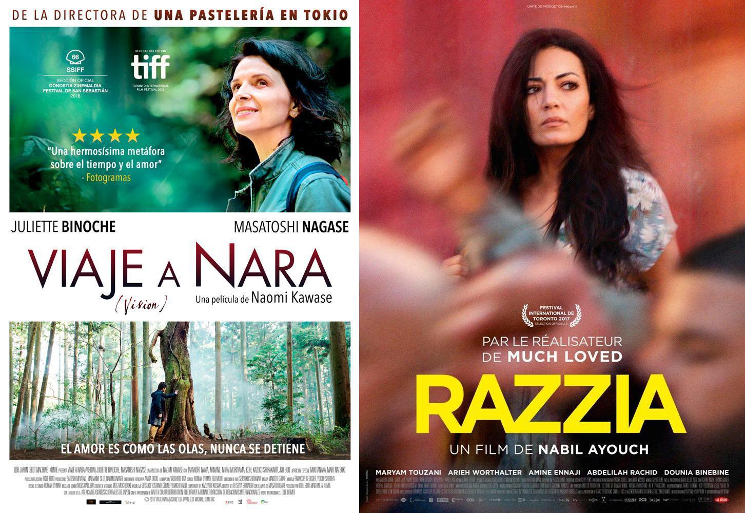 Carteles das películas Viaje a Nara y Razzia nos Codex Cinema de Lugo.