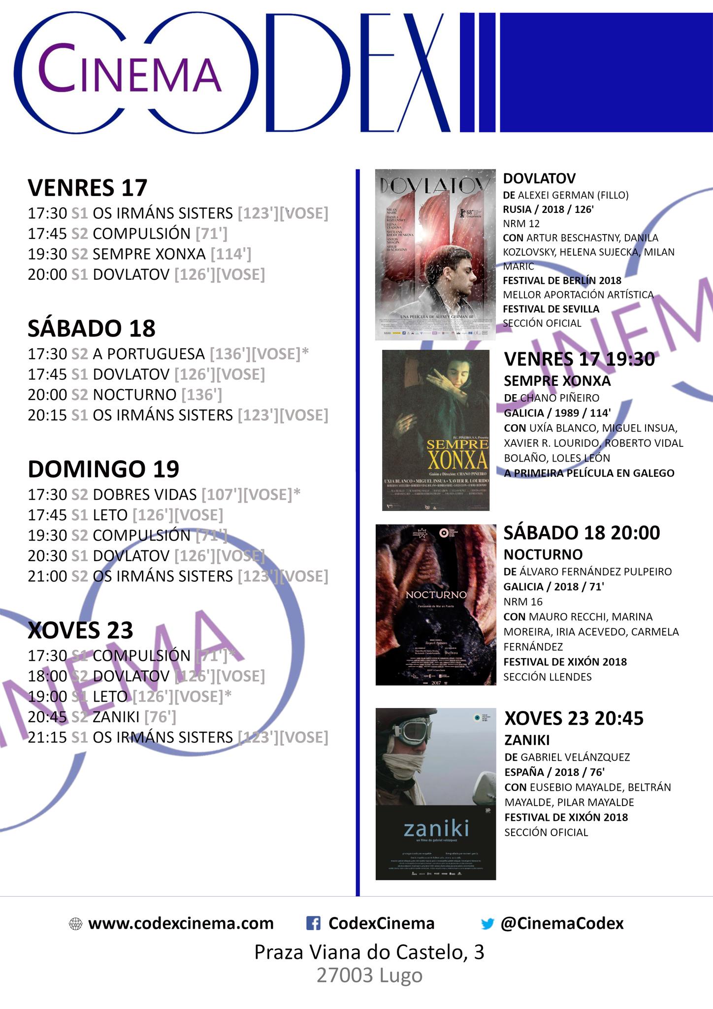 Películas no Codex Cinema 17 ao 23 de maio