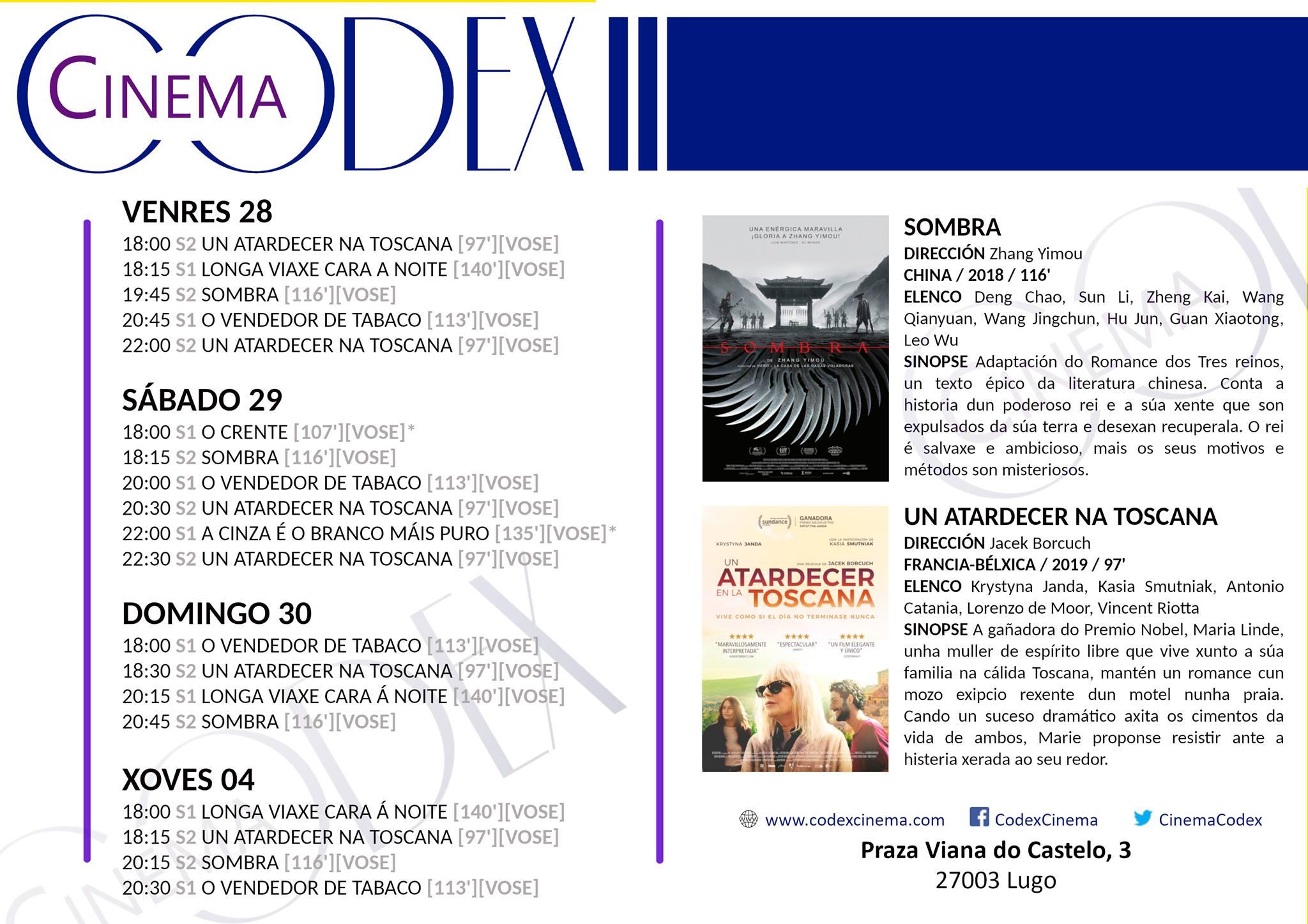 Películas en Codex Cinema del 28/06 al 04/07