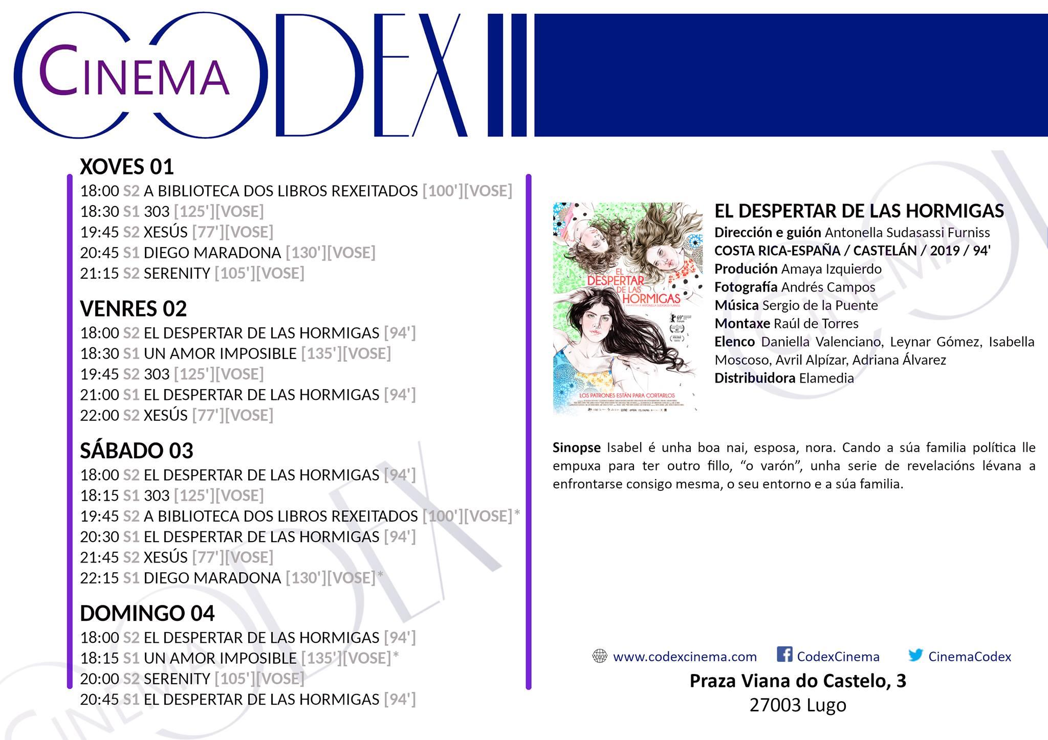 Películas nos Codex Cinema de Lugo