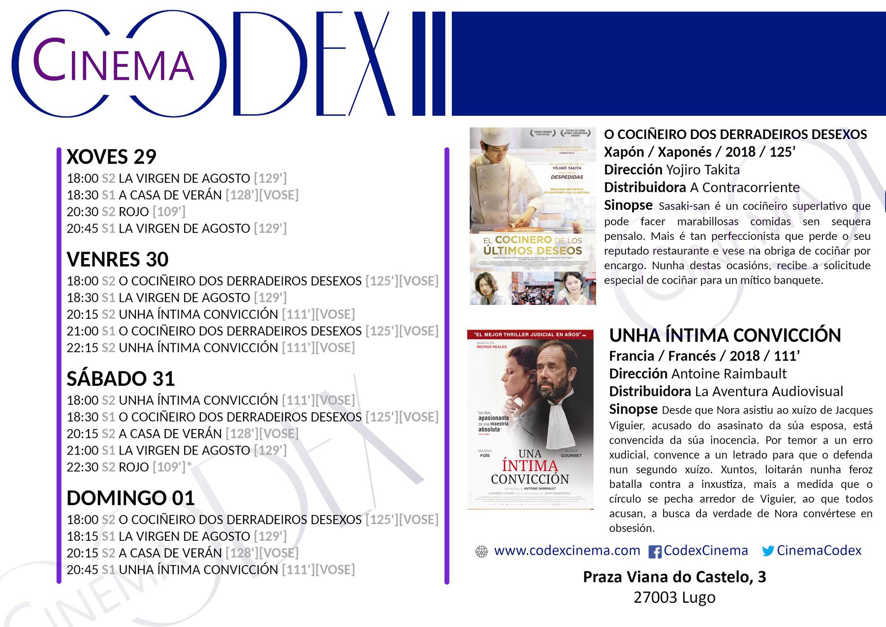 Codex Cinema: carteleira de finais de agosto