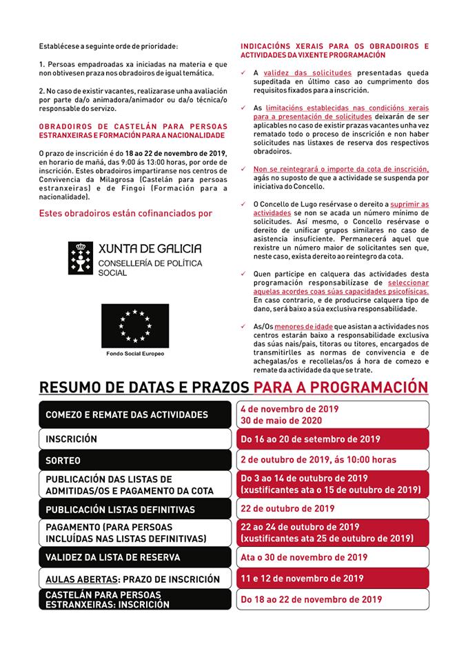 Programa animación sociocultural Lugo