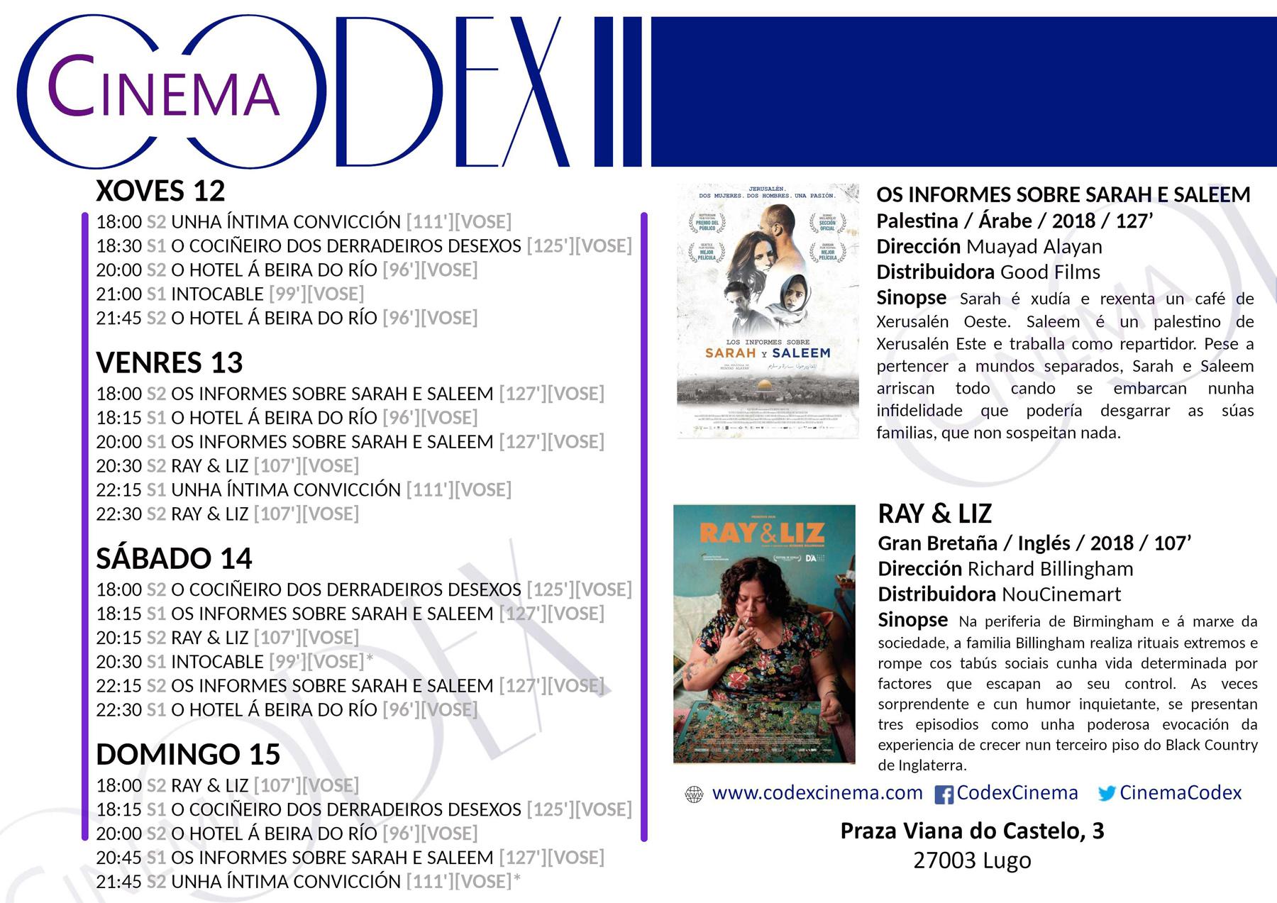 Cine en Lugo - Películas nos cines Codex