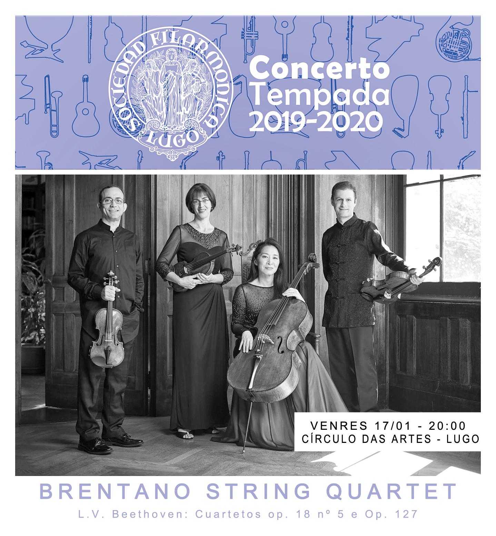 Cartel del concierto del cuarteto Brentano en Lugo