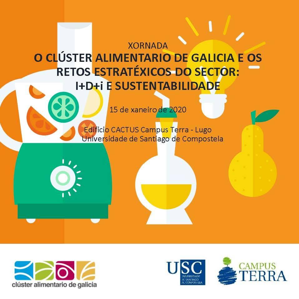 Cartel da Xornada do Clusaga sobre retos do sector alimentario de Galicia
