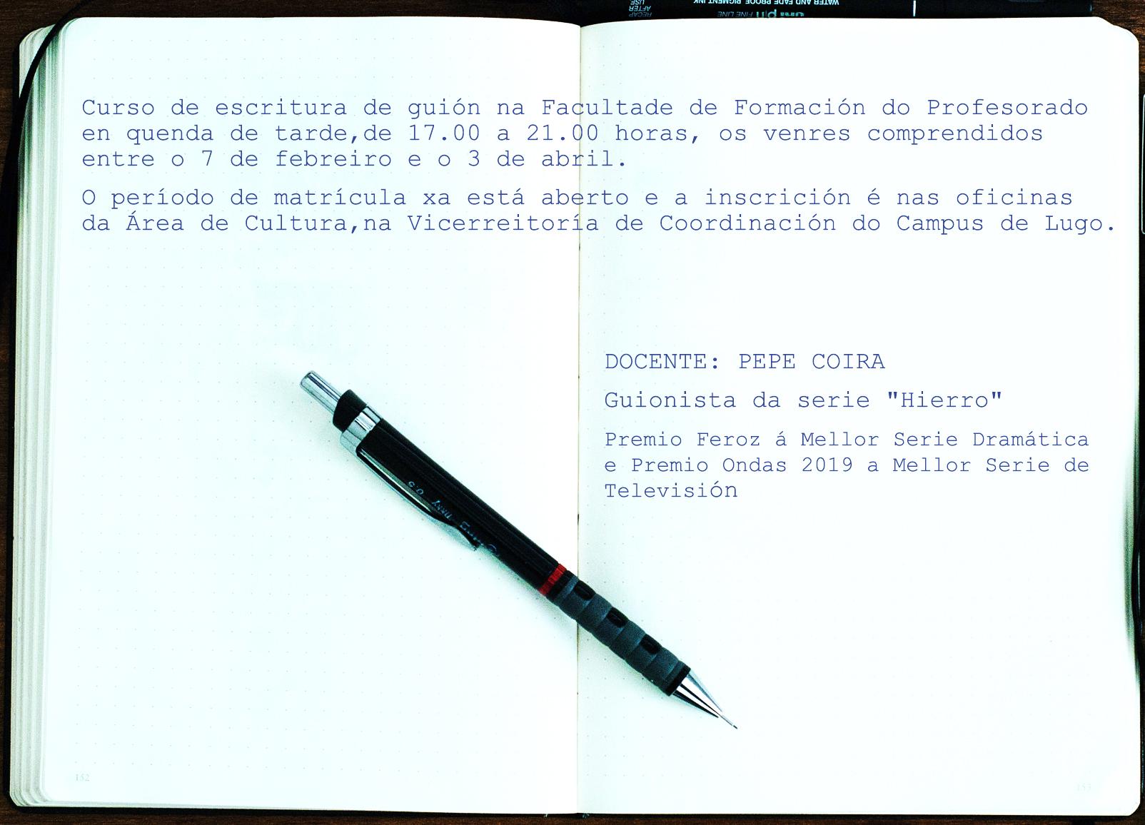 Cartel do Curso de escritura dun guión con Pepe Coira
