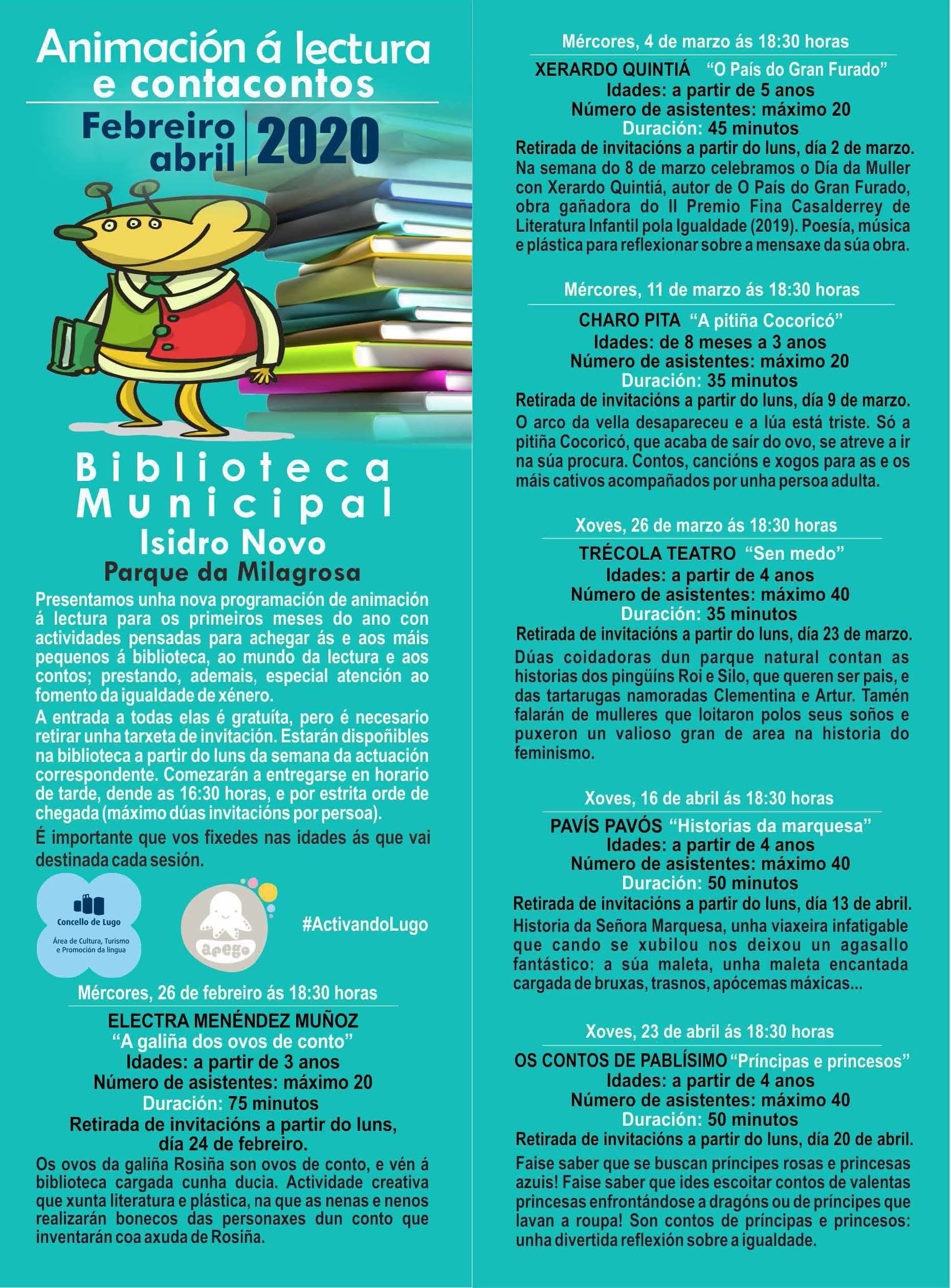 Cartel dos contacontos na biblioteca Isidro Novo