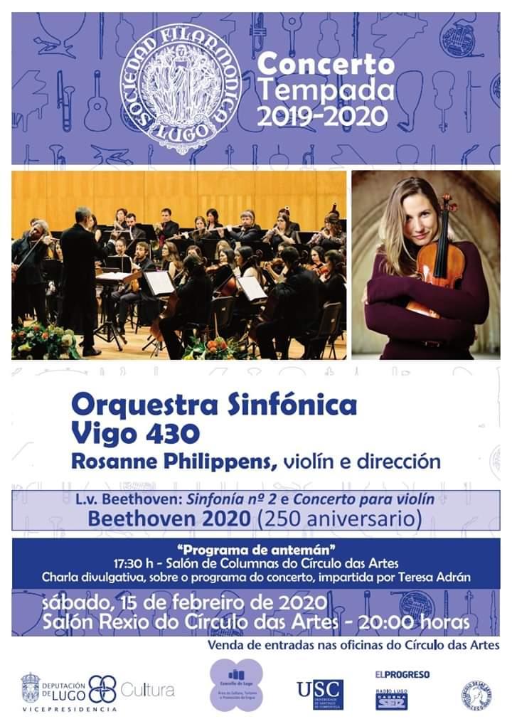 Cartel de Concerto Beethoven 2020 coa Orquestra Sinfónica de Vigo 430 e Rosanne Philippens
