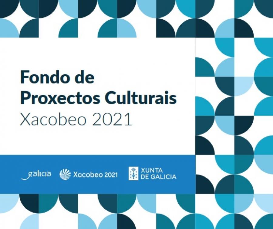 """Cartel de Aberta a convocatoria de axudas """"Fondo de Proxectos Culturais Xacobeo 2021"""""""