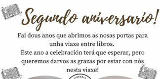Cartel da celebración do aniversario da librería Soños de Papel de Lugo