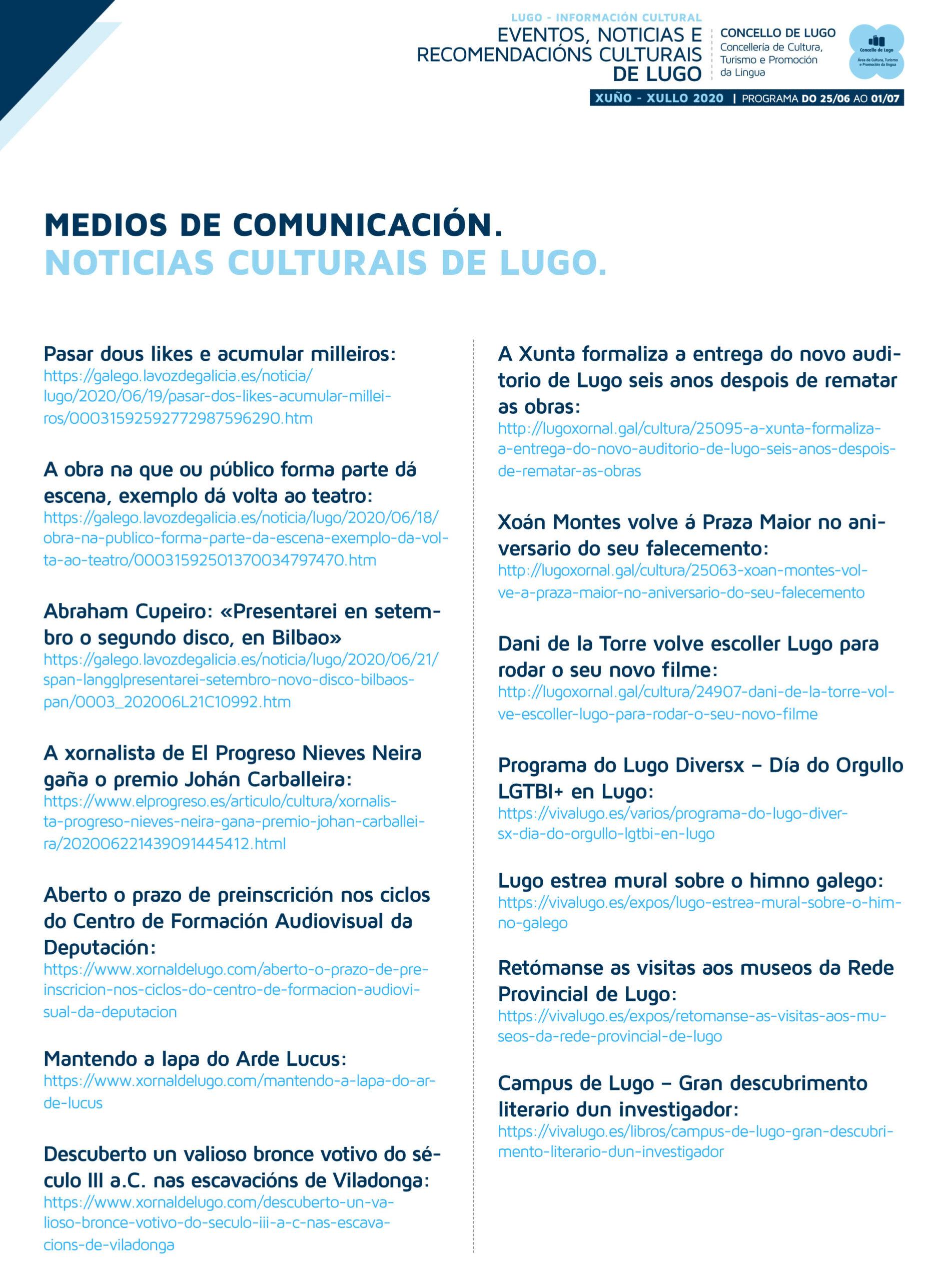 Boletín cultural semanal da área de Cultura de Lugo – 25 de xuño