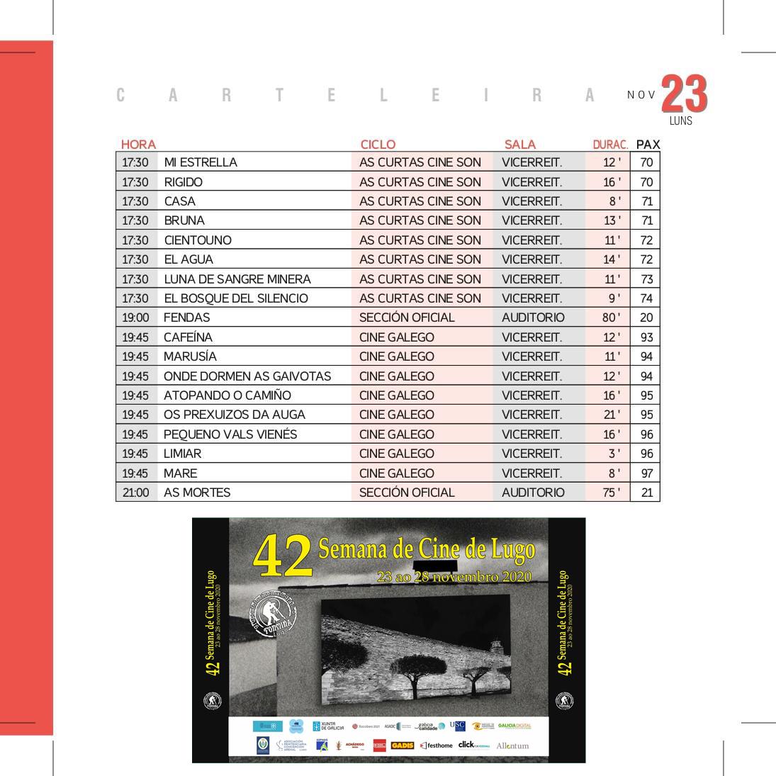 Programa Semana de Cine de Lugo 2020