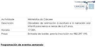 Programa de actividades de O Vello Cárcere.