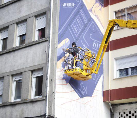 Espectacular mural de Lidia Cao en Lugo