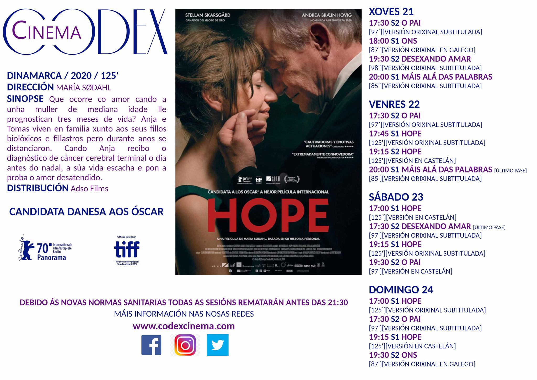 Carteleira dos Códex Cinema - Xoves 21/01 en adiante