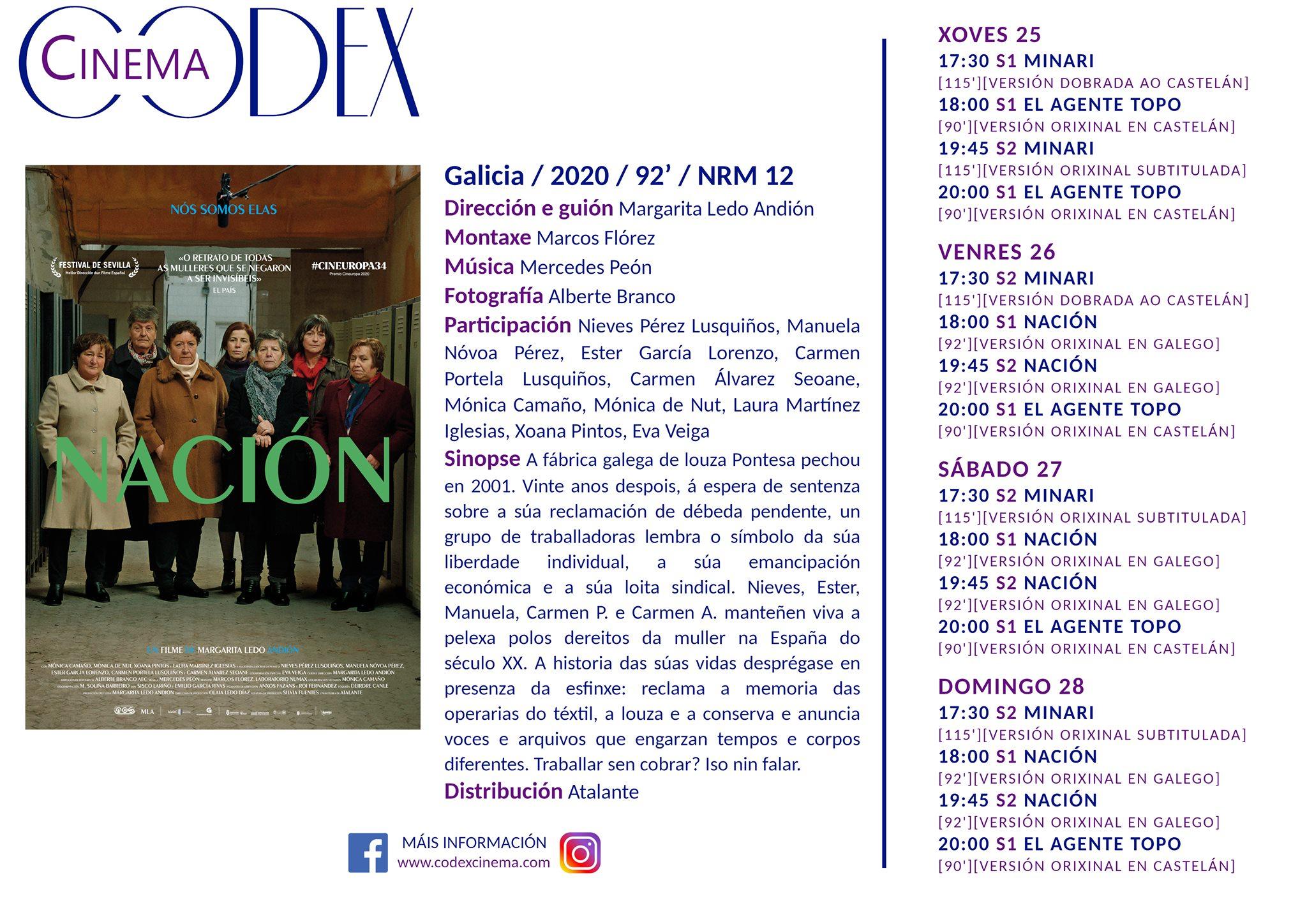 Carteleira do Códex Cinema Lugo a partir do xoves 25-03